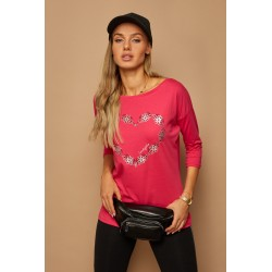 Dámské bavlněné tričko Heart růžové