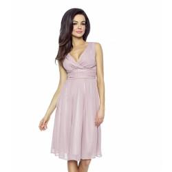 Krásné dámské šaty šifonové bez rukávu pudrové