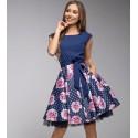 Gotta šaty s květy modré