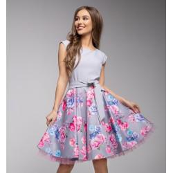Gotta šaty s květy šedé II