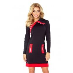 Sportovní šaty se zipy černo-červené