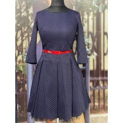 Retro šaty Gotta s 3/4 rukávem a puntíky