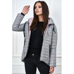 Dámská šedo-růžová oboustranná bunda