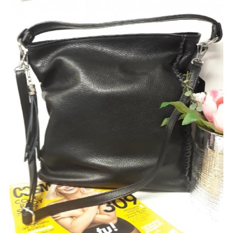 Kožená kabelka – černá