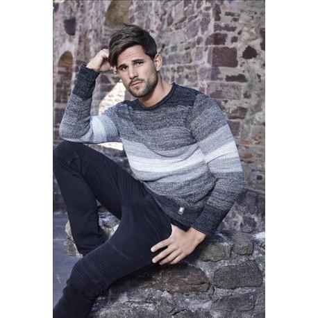 Pánský svetr s melírovaným vzorem černo-šedý