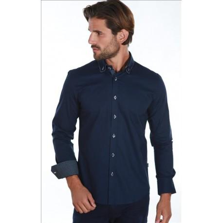 Pánská košile s dlouhým rukávem tmavě modrá Carisma