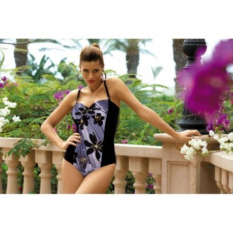 Dámské plavky jednodílné Monaco modro-černé, Velikost XL, Barva Barevná Marko