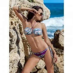 Dámské plavky dvoudílné Mila fialové se vzorem