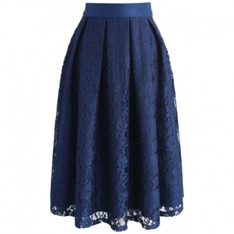 Sukně Chicwish tmavě modrá s krajkou