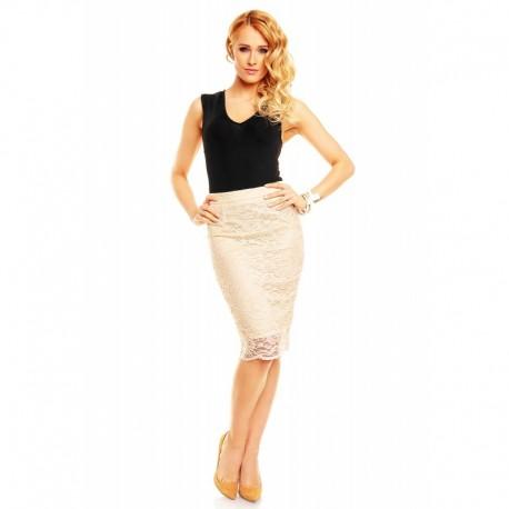 Dámská krajkovaná sukně krémová