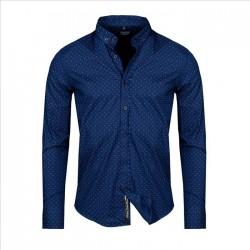 Pánská košile se vzorem a dlouhým rukávem tmavě modrá