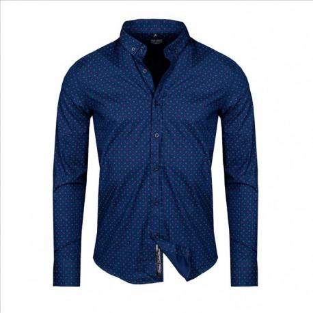 Pánská košile s dlouhým rukávem a vzorem tmavě modrá