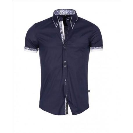 Pánská košile s krátkým rukávem Slim Fit tmavě modrá 5820611a28