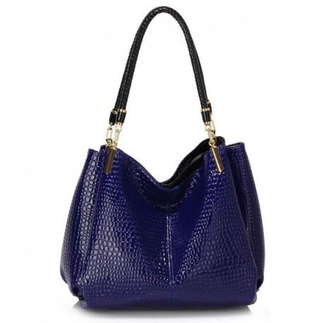 Dámská kabelka Snake – Effect modrá, Barva Modrá L&S Fashion LS243