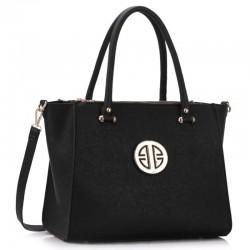 Elegantní kabelka se zlatou ozdobou černá