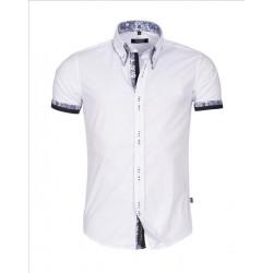 Pánská košile s krátkým rukávem Slim Fit bílá