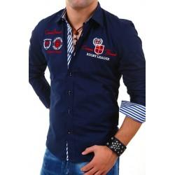 Pánská košile s dlouhým rukávem zdobená výšivkami a nápisy