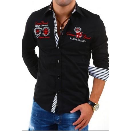 Pánská košile s krátkým rukávem zdobená nápisy černá